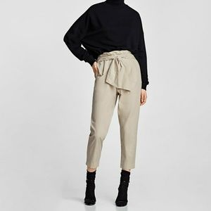 NWT Zara Beige Pants with Bow Belt XS